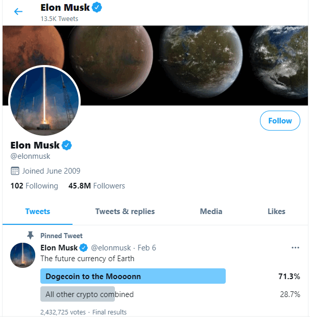 Elon Musk Dogecoin Tweet